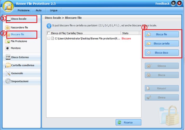 bloccare file con renee file protettore