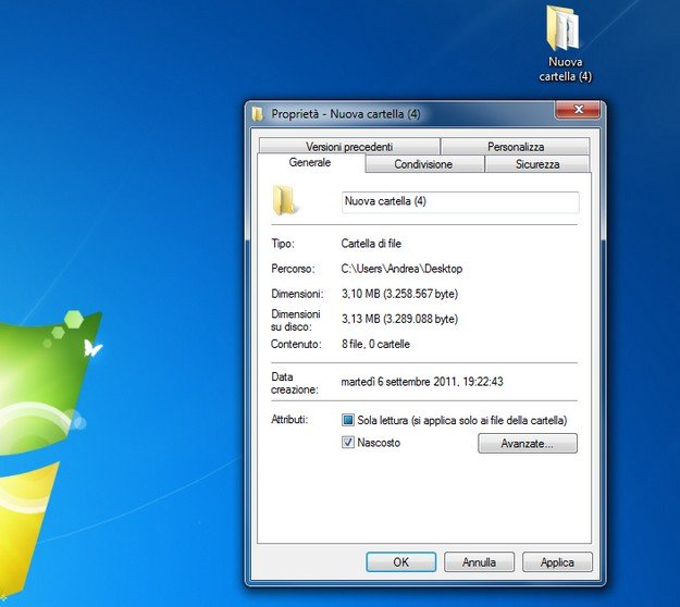 nascondere cartelle con Windows