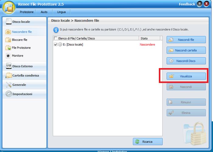 visualizzare partizioni nascoste con renee file protettoere_700