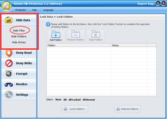 1 nascondere file e applicazioni con Renee FIle protettore_650