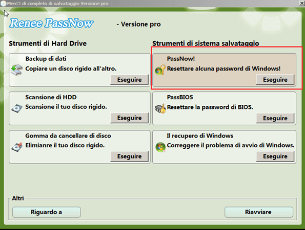 rimuovere password dimenticata con renee passnow