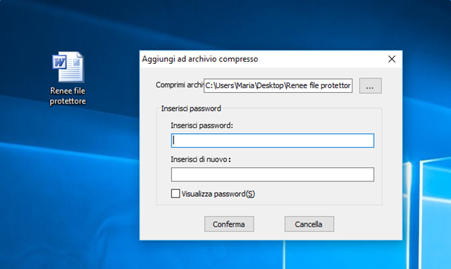 inserire una password prima di criptare documento Word