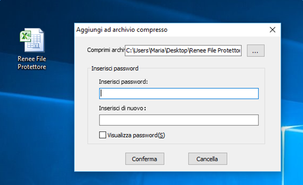 inserire una password prima di criptare file exce;