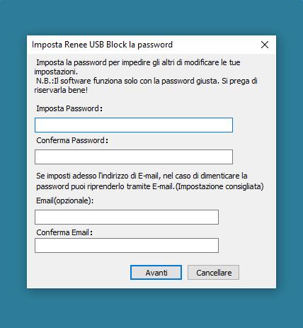 imposta la password