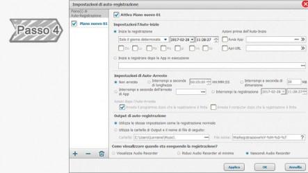 4. Impostazioni di Piano di registrazione automatica.